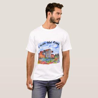 Camiseta Eu amo o t-shirt velho dos carros, com carro