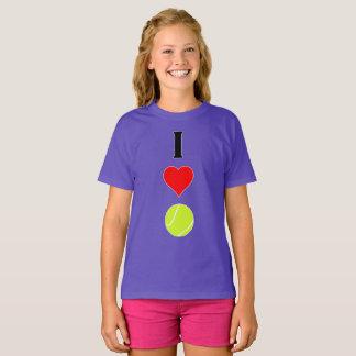 Camiseta Eu amo o t-shirt vertical das meninas do tênis (do