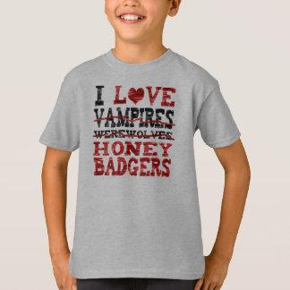 Camiseta Eu amo o texugo de mel dos homens-lobo dos