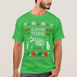 Camiseta Eu amo o Tshirt feio da camisola do Natal da tuba