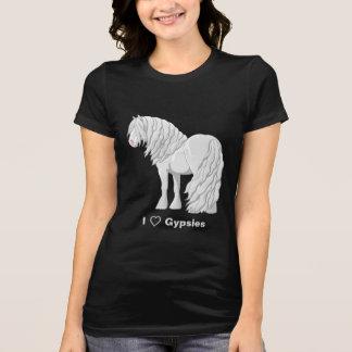 Camiseta Eu amo os cavalos de esboço aciganados brancos de