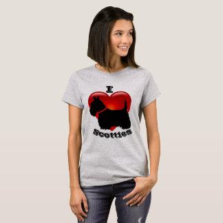 Camiseta Eu amo os terrier escoceses, coração vermelho