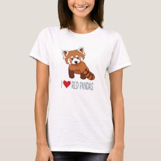 Camiseta Eu amo pandas vermelhas - panda vermelha bonito