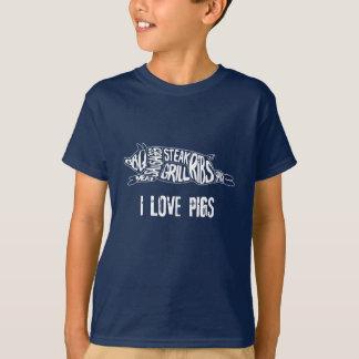 Camiseta Eu amo porcos. Anti Vegan engraçado. Nerd do