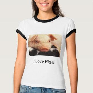 Camiseta Eu amo porcos! Snout adorável da cara do porco do