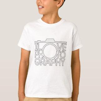 Camiseta Eu amo presente da câmera da fotografia o grande