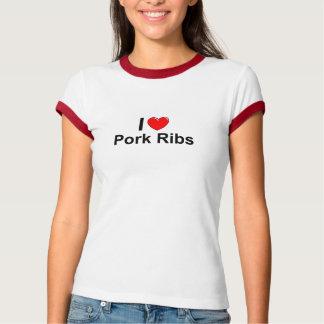 Camiseta Eu amo reforços de carne de porco do coração