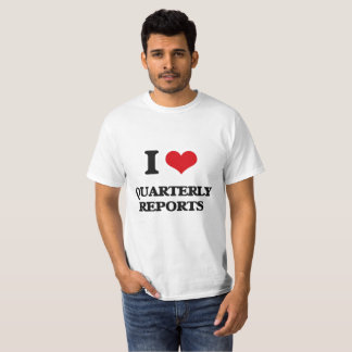 Camiseta Eu amo relatórios trimestrais