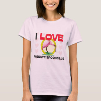 Camiseta Eu amo Spoonbills róseos