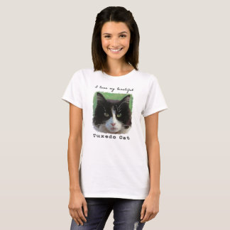 "Camiseta ""Eu amo t-shirt do meu gato bonito do smoking"""