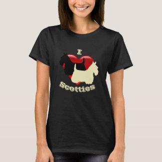 Camiseta Eu amo terrier escoceses, preto & wheaten