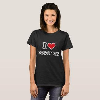 Camiseta Eu amo trenós do cão