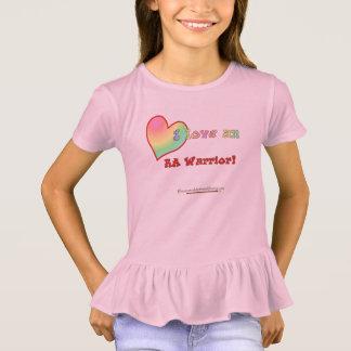 Camiseta Eu amo um plissado T da menina do guerreiro do RA