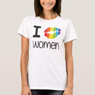 Camiseta Eu beijo o orgulho lésbica das mulheres LGBT