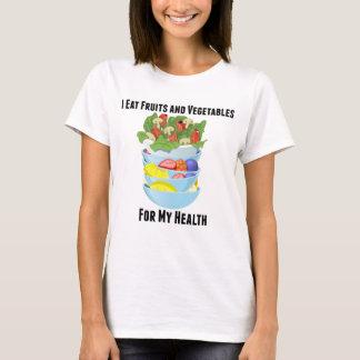 Camiseta Eu como frutas e legumes para meu t-shirt da saúde