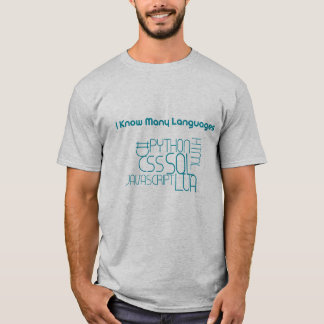 Camiseta Eu conheço muitas línguas mas não Java