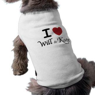 Camiseta Eu coração e t-shirt do cão de Kate