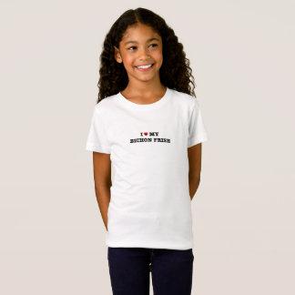 Camiseta Eu coração meu Bichon Frise caçôo o t-shirt