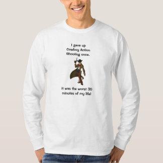 Camiseta Eu dei acima o tiro da ação do vaqueiro