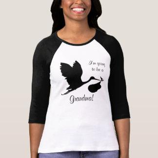 Camiseta Eu estou indo ser uma cegonha preta da avó