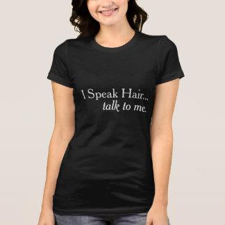 Camiseta Eu falo o t-shirt do marketing do cabeleireiro do