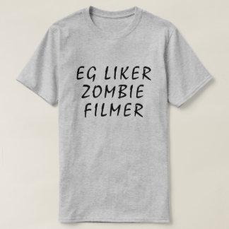 Camiseta Eu gosto de filmes do zombi no cinza norueguês