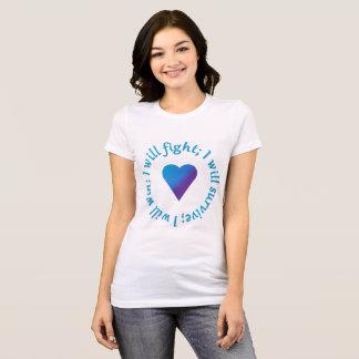 Camiseta Eu lutarei; Sobreviva; Ganhe o T da consciência do
