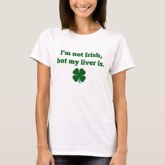 """Camiseta """"Eu não sou irlandês, mas meu fígado é"""" t-shirt"""