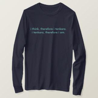 Camiseta eu penso, conseqüentemente mim a luva longa t do