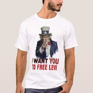 """Camiseta Eu quero-o a, """"LIVRAR LEVI""""."""