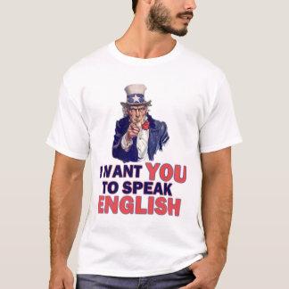 Camiseta Eu quero-o falar o inglês