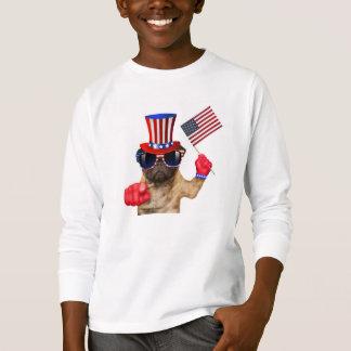 Camiseta Eu quero-o, pug, cão do tio Sam,