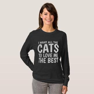 Camiseta EU QUERO TODOS OS GATOS AMO-ME os MELHORES t-shirt