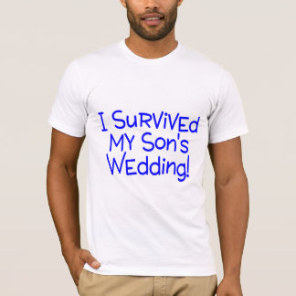 Camiseta Eu sobrevivi a meus filhos que Wedding o azul