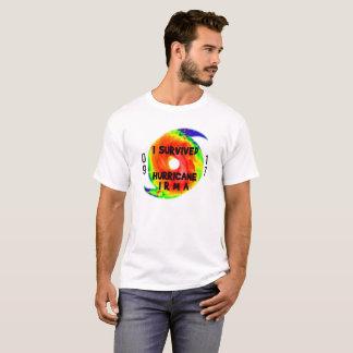 Camiseta EU SOBREVIVI AO FURACÃO IRMA, texto preto no