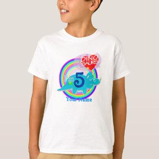 Camiseta Eu sou 5 - t-shirt azul de Dino da 5a celebração