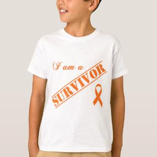 Camiseta Eu sou um sobrevivente - fita alaranjada
