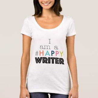 Camiseta Eu sou um T feliz do pescoço da colher do escritor