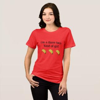 """Camiseta """"Eu sou um tipo de três taco t-shirt da menina"""""""