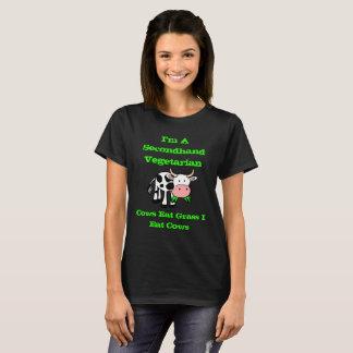 Camiseta Eu sou um vegetariano de segunda mão (a vaca)