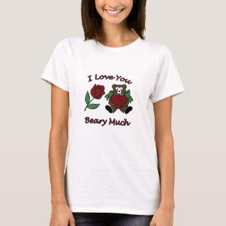 Camiseta Eu te amo Beary muito ursinho com coração aumentou