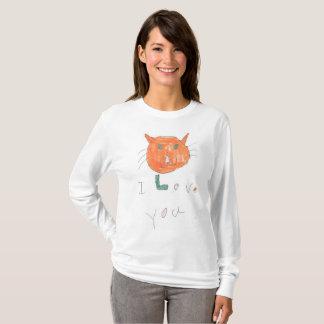 Camiseta Eu te amo com desenho do gato