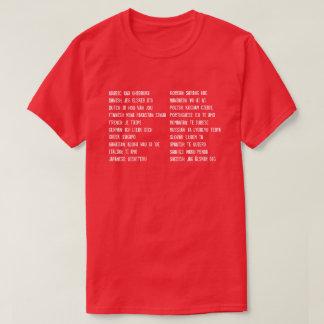 Camiseta Eu te amo em 20 línguas diferentes
