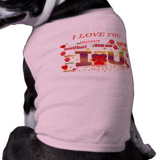 Camiseta EU TE AMO presente da VESTE do CÃO para meu cão
