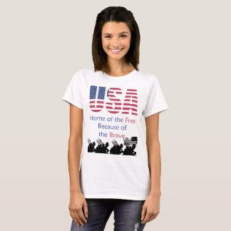 Camiseta EUA - Casa do livre devido ao bravo
