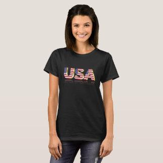 Camiseta EUA na rotulação da bandeira dos E.U.