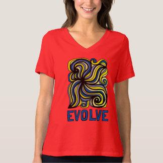 """Camiseta """"Evolua"""" o t-shirt apto relaxado do V-Pescoço das"""