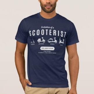 Camiseta Evolução de um Scooterist… Impressão branco