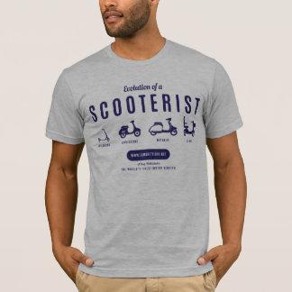 Camiseta Evolução de um Scooterist - impressão do marinho
