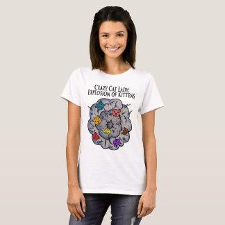 Camiseta Explosão dos gatinhos, senhora louca do gato